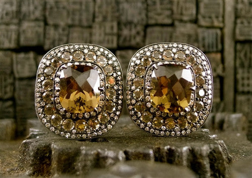 Amrapali Large Smoky Quartz and Diamond Earrings in 18K Gold and Sterling Silver