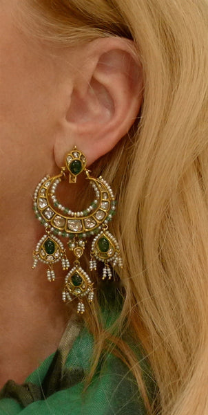 Amrapali 18K Yellow Gold Moghul Diamond, Emerald, and Pearl Chandelier Earrings