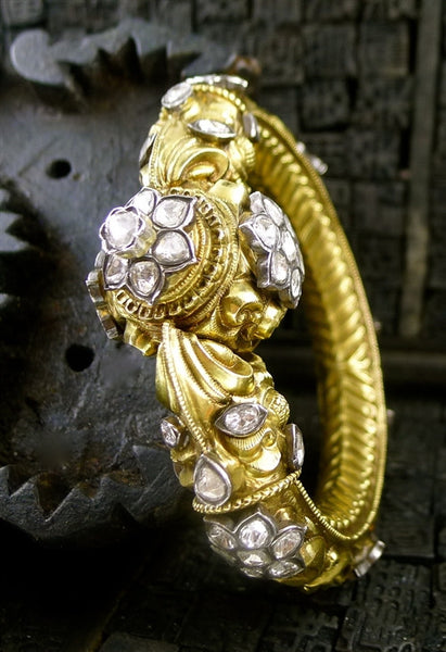 Amrapali Mogul Diamond Bracelet, 18K Yellow Gold and Sterling Silver