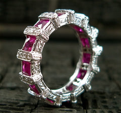Estate 14K White Gold, Diamond and Ruby Eternity Band Ring