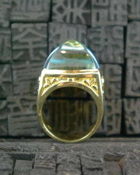 Marisa Perry 18K YG  and Blue Topaz  Marrakesh Crowning RIng
