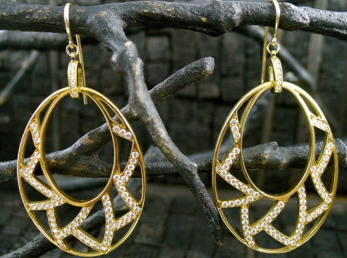 Ron Hami Diamond Lotus Fretwork Hoop Earrings in 18K Gold