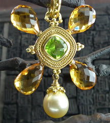 Mazza 18K Yellow Gold, Peridot, Citrine, and Pearl Pendant/Brooch