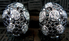18K White Gold with Black and White Diamond Polka Dot Earrings