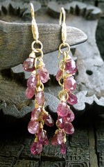 Talisman Unlimited 14K Yellow Gold Pink Tourmaline Hammerwire Drop Earrings
