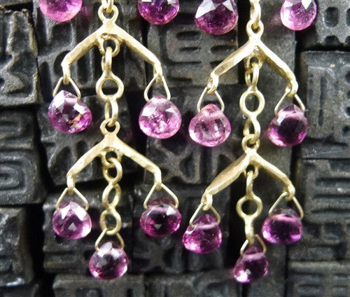 Talisman Unlimited 14K Yellow Gold and Pink Tourmaline Fishbone Drop Earrings