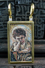 Russian MicroMosaic Pendant of ArchAngel Michael in 18K Yellow Gold and Diamonds Necklace