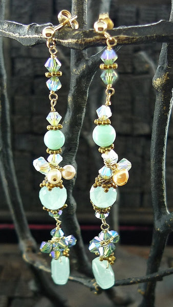 Patricia Costa Multi Blue Crystal Drop Earring in Yellow Gold Vermeil