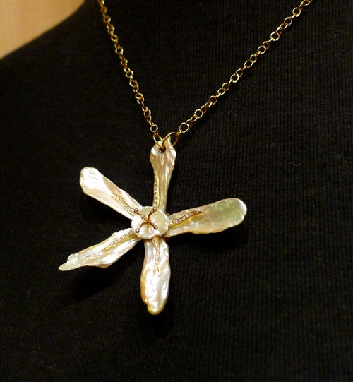 Pade Vavra 18K Yellow Gold, Pearl and Diamond Orchid Necklace