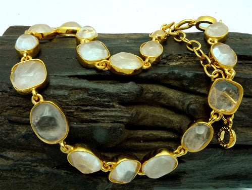 Robert Goossens Faceted Crystal Necklace in 24K Yellow Gold Vermeil