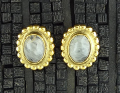 Robert Goossens Rock Crystal Oval Clip Earrings with Granulation on Bezel in 24K Yellow Gold Vermeil