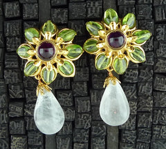 Robert Goossens Peridot and Amethyst Flower Clip Earrings with Rock Crystal Drops
