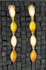 Robert Goossens Orange and Pink Stone Clip Drop Earrings