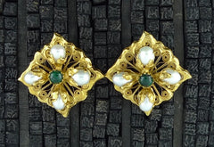 Robert Goossens Pearl and Green Stone Clip Earrings in 24K Yellow GOld Vermeil