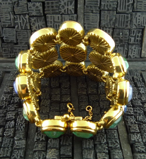 Robert Goossens Multi-Colored Blue and Green Stone Bracelet in 24K Yellow Gold Vermeil