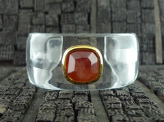 Robert Goossens Orange Stone and Clear Resin Cuff