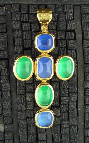 Robert Goossens Cross Pendant in Blue and Green
