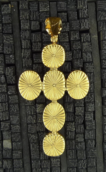 Robert Goossens Cross Pendant in Green and Red Stones in 24K Yellow Gold Vermeil