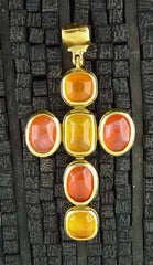 Robert Goossens Cross Pendant in Oranges