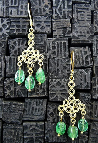 Emerald Drop Earrings in 22K Yellow Gold