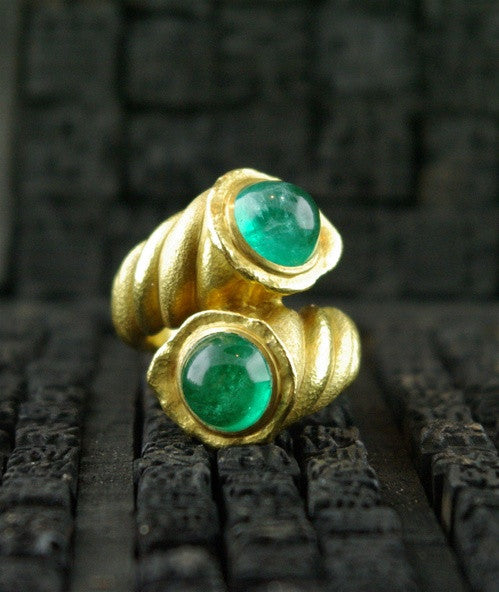 "Paola Ferro Two Cabochon Emeralds  18K Yellow Gold ""Contrariee"" Ring"