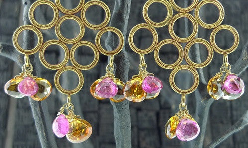 Julie Baker 18k Yellow Gold Tube Chain w/ 22k Chandelier and Citrine and Pink Tourmaline Briolettes
