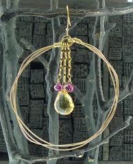 Julie Baker 22k Yellow Gold Wire Hoops with Citrine and Pink Tourmaline Briolettes