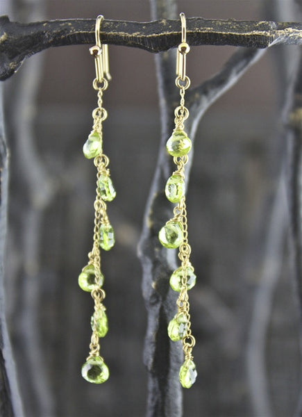 Peridot Line Earrings in 14K Yellow Gold