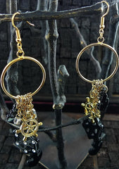 Bijoux Luck Anchor And Ship Wheel Earrings