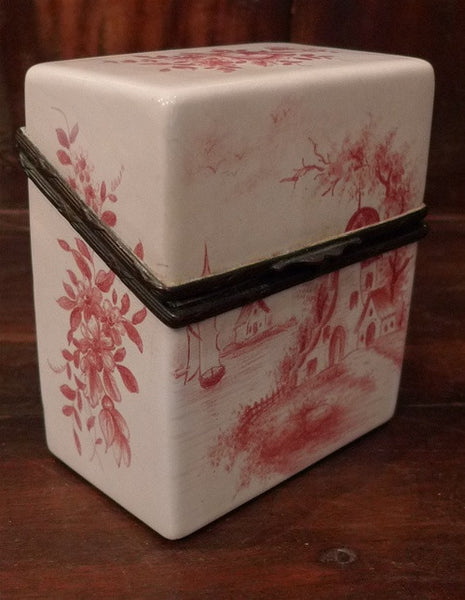 Antique French Porcelain Tea Caddy in Pink Toile Design