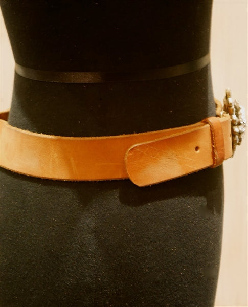B-Low The Belt Crystal Buckle on Cognac Leather Belt