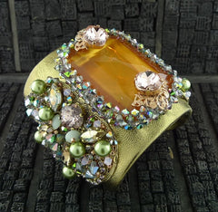 Erickson Beamon - Xanadu Cuff with Apricot Stone, Green Pearls and Lavender Crystals