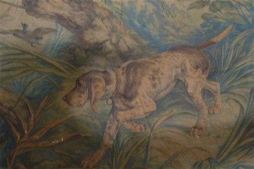 Antique Early 18th Century Flemish Hunt Scene Tapestry with Hound Flushing Birds