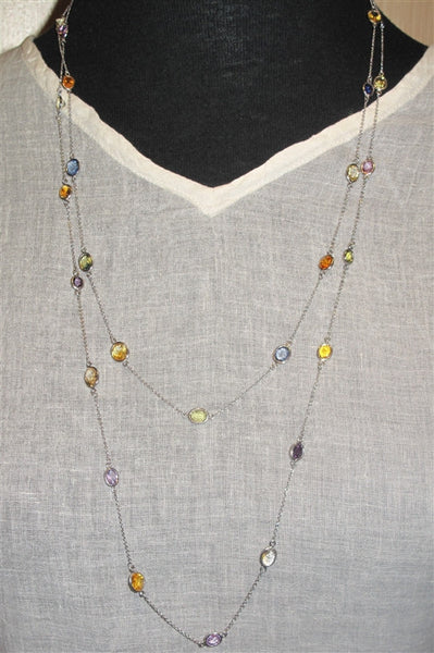 Estate Necklace of Multi-colored Sapphires and Solid Platinum