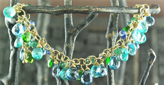 Talisman Unlimited Multi Gemstone Bracelet of 18K Gold, Blue Topaz, Chrome Diopside and Apatite