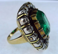 Antique 14K Yellow Gold Emerald and Diamond Ring