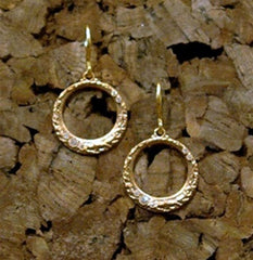 Emily Armenta Diamond Dangle Hoop Earrings in Bronze with 18K Gold