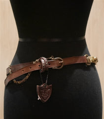 Hollywood Trading Company Brown Metal Belt