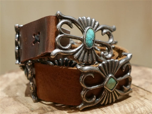Southwestern Reproduction Navajo Concho Belt with Sand Cast Conchos Inlaid with Turquoise by TeeGarden