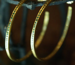 Dominique Cohen 18K Yellow Gold and Green Diamond Hoop Earrings