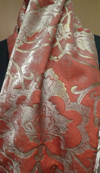 Corem Rose Venetian Silk Velvet Hand Painted Scarf with Tassels