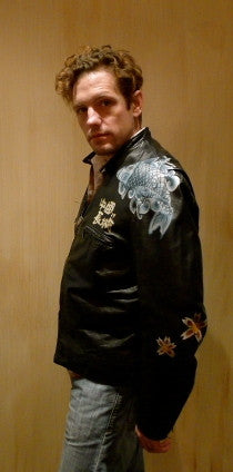 Great China Wall Hand Painted Leather Jacket with Japanese Koi on Shoulder and Back