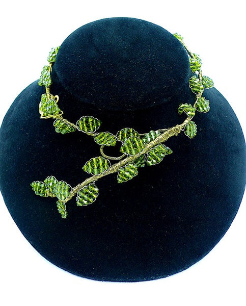 Mindy Lam Classic Leaf  Swarovski Crystal Necklace in Peridot Green