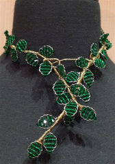 Mindy Lam Classic Leaf Swarovski Crystal Necklace in Emerald Green
