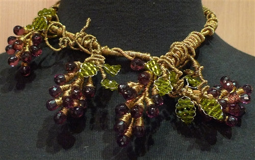 Mindy Lam Amethyst Swarovski Crystal Grape Clusters on Bronze Wire Necklace