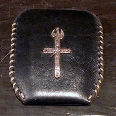 David Winter Black Leather With Sterling Silver Cross Cell Phone Case