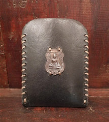 David Winter Leather Cell Phone Case with Sterling Silver Buddha Icon