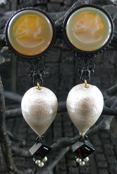 Extasia Intaglio and Pearl Drop Earrings