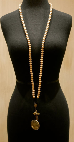 Kimmie Winter Tan Bead Rosary Necklace