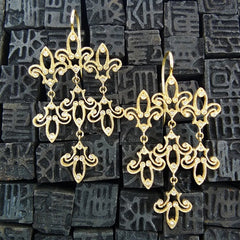 Pade Vavra 18K Yellow Gold and Diamond Fleur de Lis Chandelier Earrings